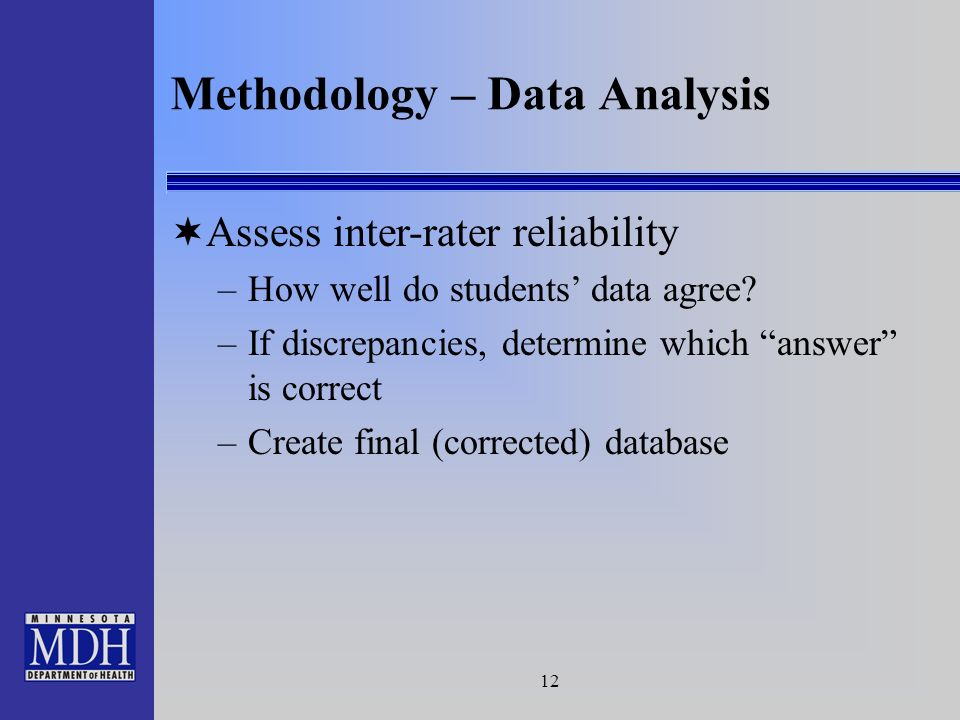 12 Methodology – Data Analysis Assess inter-rater reliability –How well do students data agree.