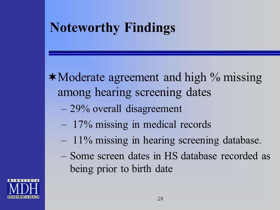 29 Moderate agreement and high % missing among hearing screening dates –29% overall disagreement – 17% missing in medical records – 11% missing in hearing screening database.