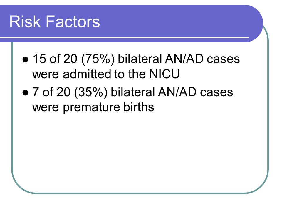 Risk Factors 15 of 20 (75%) bilateral AN/AD cases were admitted to the NICU 7 of 20 (35%) bilateral AN/AD cases were premature births