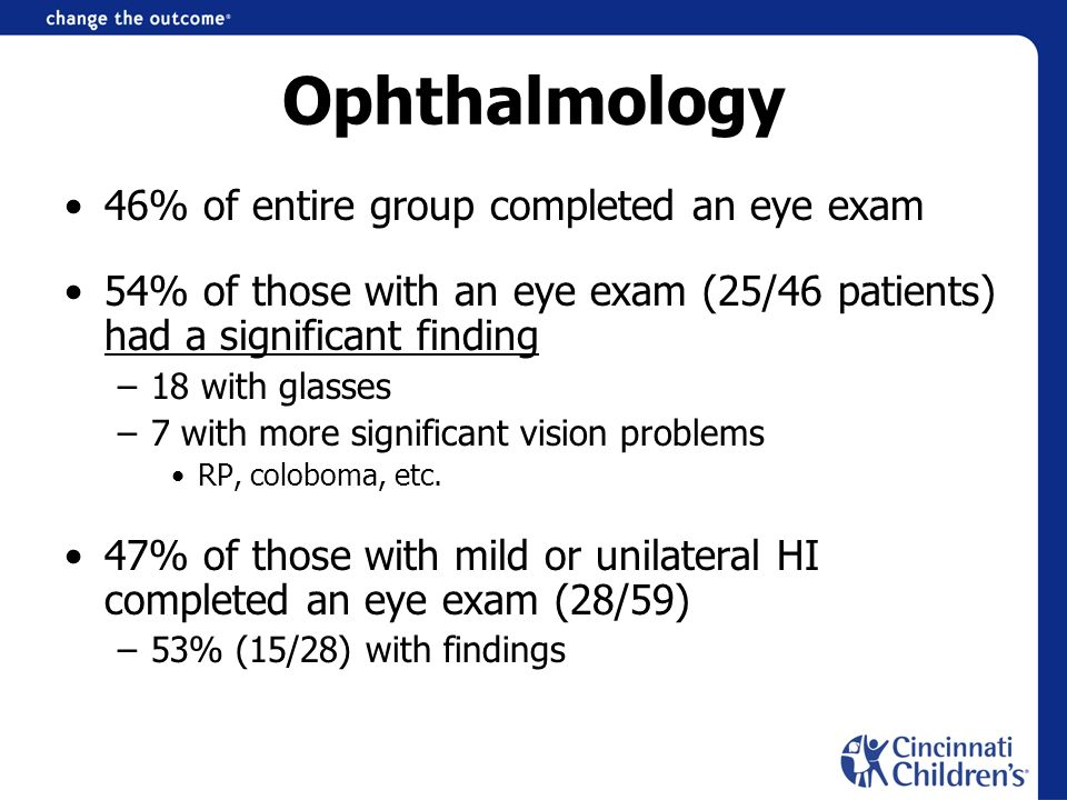 Ophthalmology 46% of entire group completed an eye exam 54% of those with an eye exam (25/46 patients) had a significant finding –18 with glasses –7 with more significant vision problems RP, coloboma, etc.