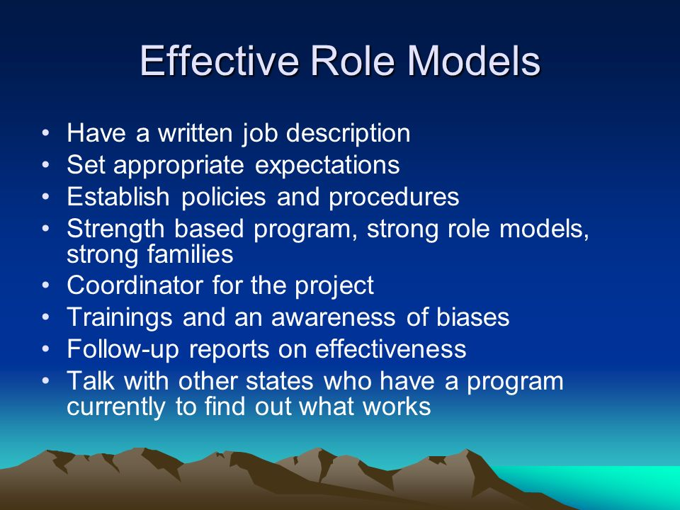 Effective Role Models Have a written job description Set appropriate expectations Establish policies and procedures Strength based program, strong role models, strong families Coordinator for the project Trainings and an awareness of biases Follow-up reports on effectiveness Talk with other states who have a program currently to find out what works