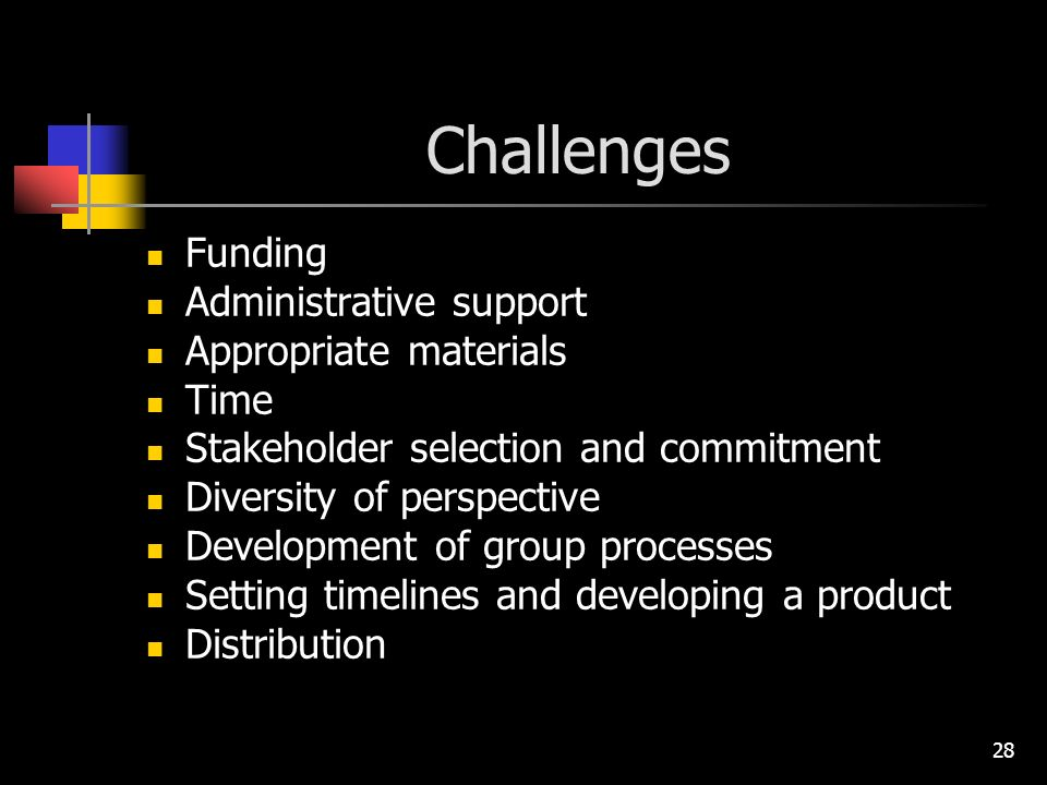 28 Challenges Funding Administrative support Appropriate materials Time Stakeholder selection and commitment Diversity of perspective Development of group processes Setting timelines and developing a product Distribution