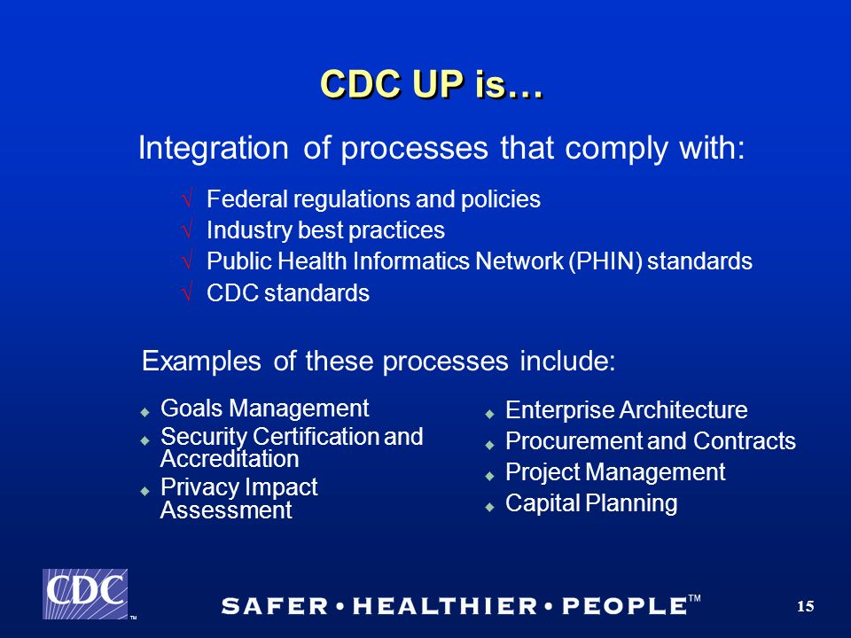 TM 15 CDC UP is… Integration of processes that comply with: Federal regulations and policies Industry best practices Public Health Informatics Network (PHIN) standards CDC standards Enterprise Architecture Procurement and Contracts Project Management Capital Planning Goals Management Security Certification and Accreditation Privacy Impact Assessment Examples of these processes include: