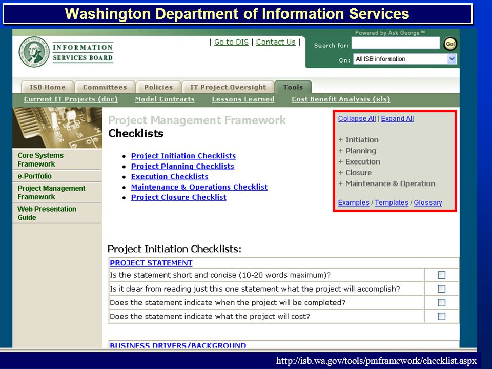 TM 32 Washington Department of Information Services http://isb.wa.gov/tools/pmframework/checklist.aspx