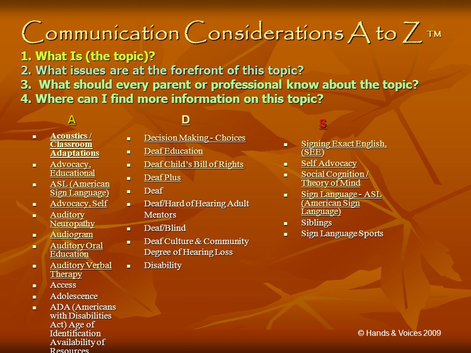 Communication Considerations A to Z 1. What Is (the topic).