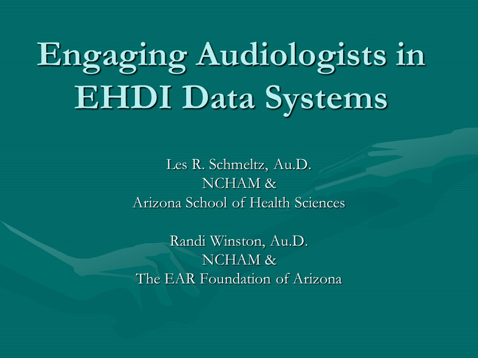 Engaging Audiologists in EHDI Data Systems Les R. Schmeltz, Au.D.