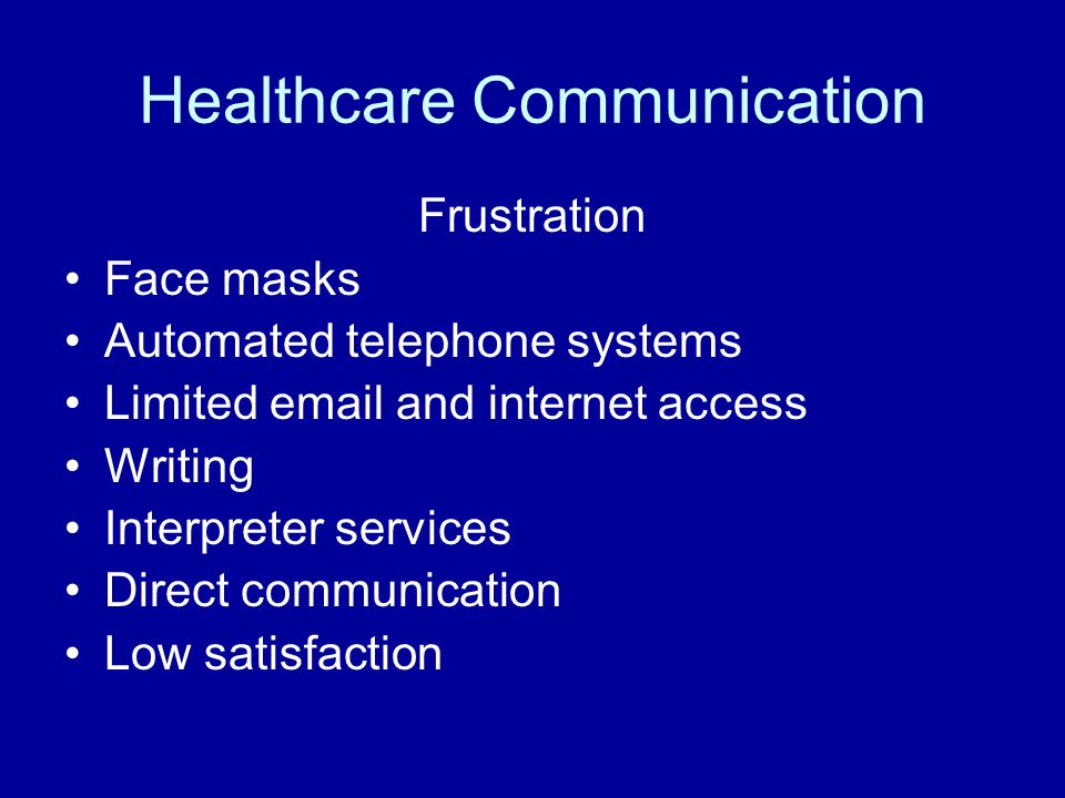Healthcare Communication Frustration Face masks Automated telephone systems Limited email and internet access Writing Interpreter services Direct communication Low satisfaction