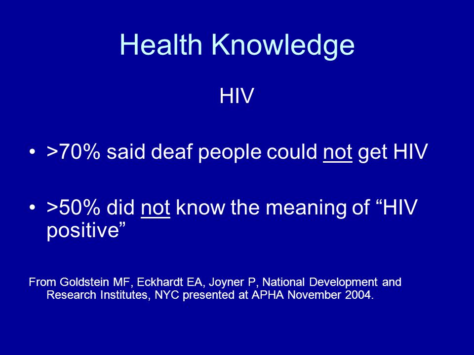 Health Knowledge HIV >70% said deaf people could not get HIV >50% did not know the meaning of HIV positive From Goldstein MF, Eckhardt EA, Joyner P, National Development and Research Institutes, NYC presented at APHA November 2004.