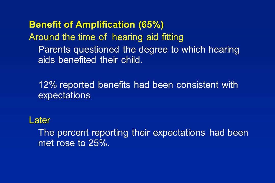 Benefit of Amplification (65%) Around the time of hearing aid fitting Parents questioned the degree to which hearing aids benefited their child.