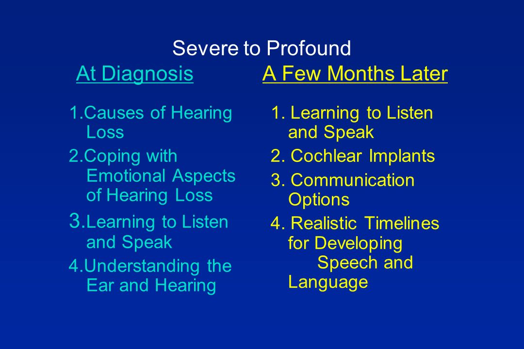 Severe to Profound At DiagnosisA Few Months Later 1.Causes of Hearing Loss 2.Coping with Emotional Aspects of Hearing Loss 3.