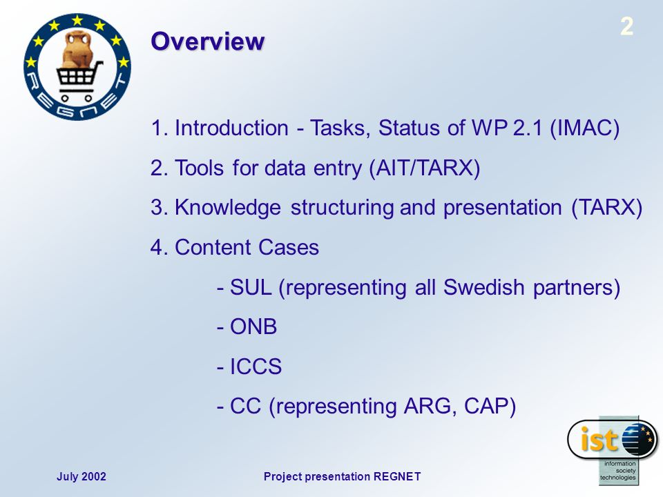 July 2002Project presentation REGNET 2 1. Introduction - Tasks, Status of WP 2.1 (IMAC) 2.