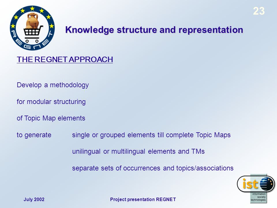 July 2002Project presentation REGNET 23 THE REGNET APPROACH Develop a methodology for modular structuring of Topic Map elements to generate single or grouped elements till complete Topic Maps unilingual or multilingual elements and TMs separate sets of occurrences and topics/associations Knowledge structure and representation
