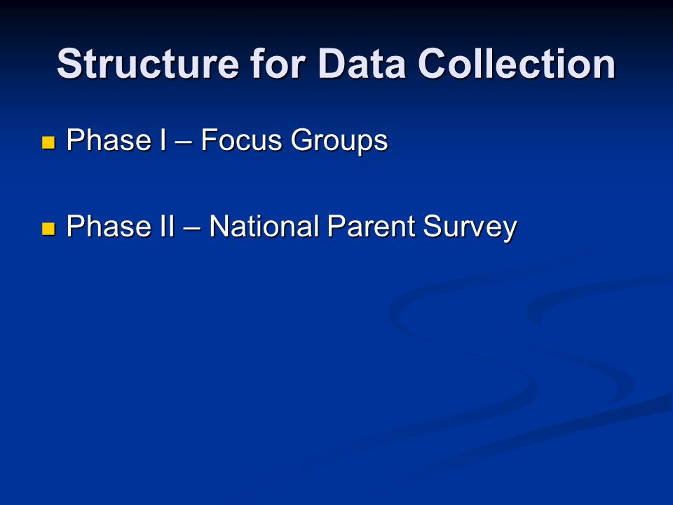 Structure for Data Collection Phase I – Focus Groups Phase I – Focus Groups Phase II – National Parent Survey Phase II – National Parent Survey