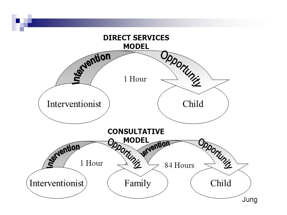 ChildFamily 1 Hour 84 Hours Interventionist ChildInterventionist 1 Hour DIRECT SERVICES MODEL CONSULTATIVE MODEL Jung