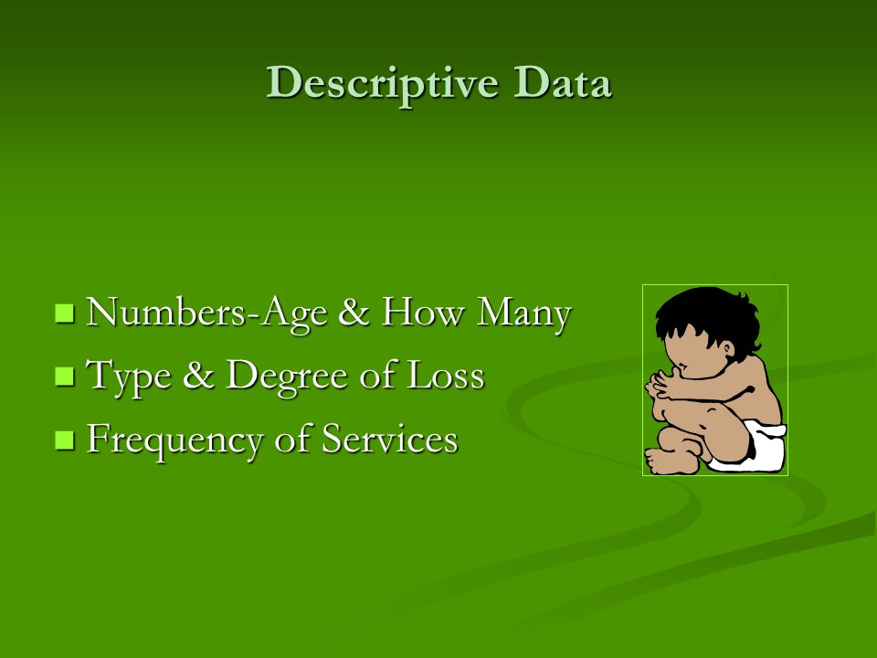 Descriptive Data Numbers-Age & How Many Numbers-Age & How Many Type & Degree of Loss Type & Degree of Loss Frequency of Services Frequency of Services