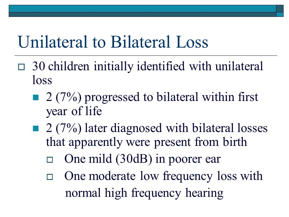 Unilateral to Bilateral Loss 30 children initially identified with unilateral loss 2 (7%) progressed to bilateral within first year of life 2 (7%) later diagnosed with bilateral losses that apparently were present from birth One mild (30dB) in poorer ear One moderate low frequency loss with normal high frequency hearing