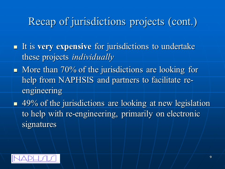 9 Recap of jurisdictions projects (cont.) It is very expensive for jurisdictions to undertake these projects individually It is very expensive for jurisdictions to undertake these projects individually More than 70% of the jurisdictions are looking for help from NAPHSIS and partners to facilitate re- engineering More than 70% of the jurisdictions are looking for help from NAPHSIS and partners to facilitate re- engineering 49% of the jurisdictions are looking at new legislation to help with re-engineering, primarily on electronic signatures 49% of the jurisdictions are looking at new legislation to help with re-engineering, primarily on electronic signatures