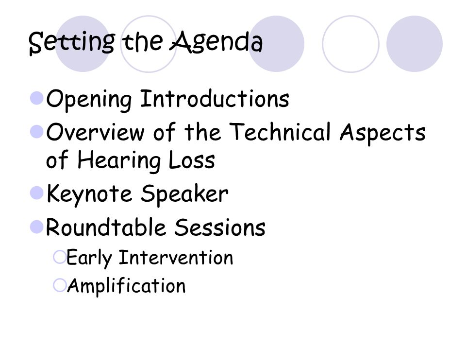 Setting the Agenda Opening Introductions Overview of the Technical Aspects of Hearing Loss Keynote Speaker Roundtable Sessions Early Intervention Amplification