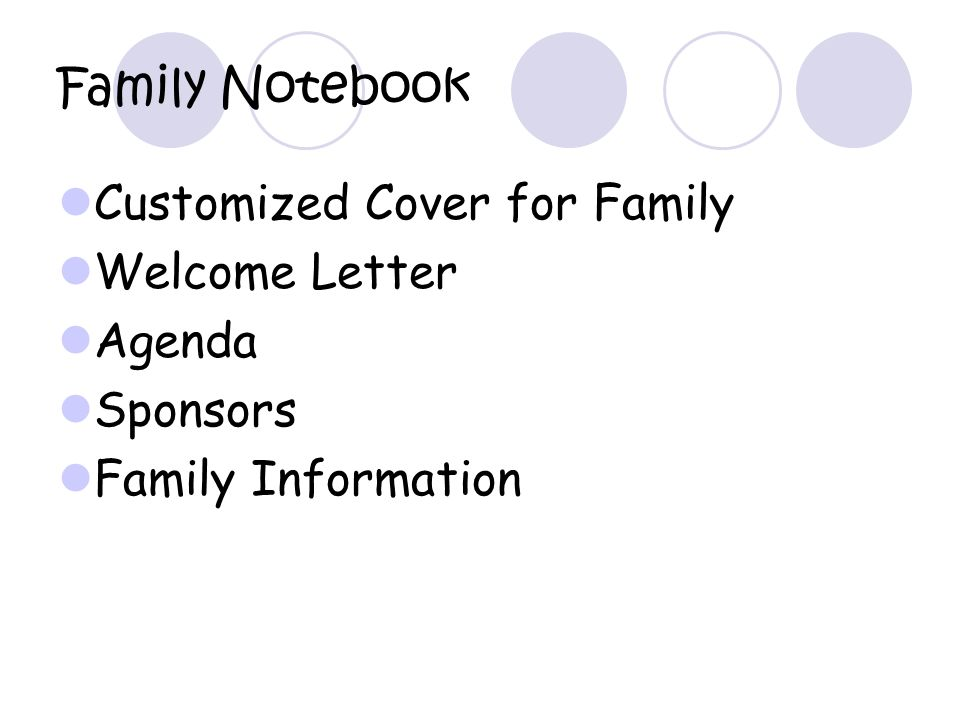 Family Notebook Customized Cover for Family Welcome Letter Agenda Sponsors Family Information