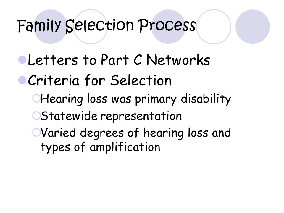 Family Selection Process Letters to Part C Networks Criteria for Selection Hearing loss was primary disability Statewide representation Varied degrees of hearing loss and types of amplification