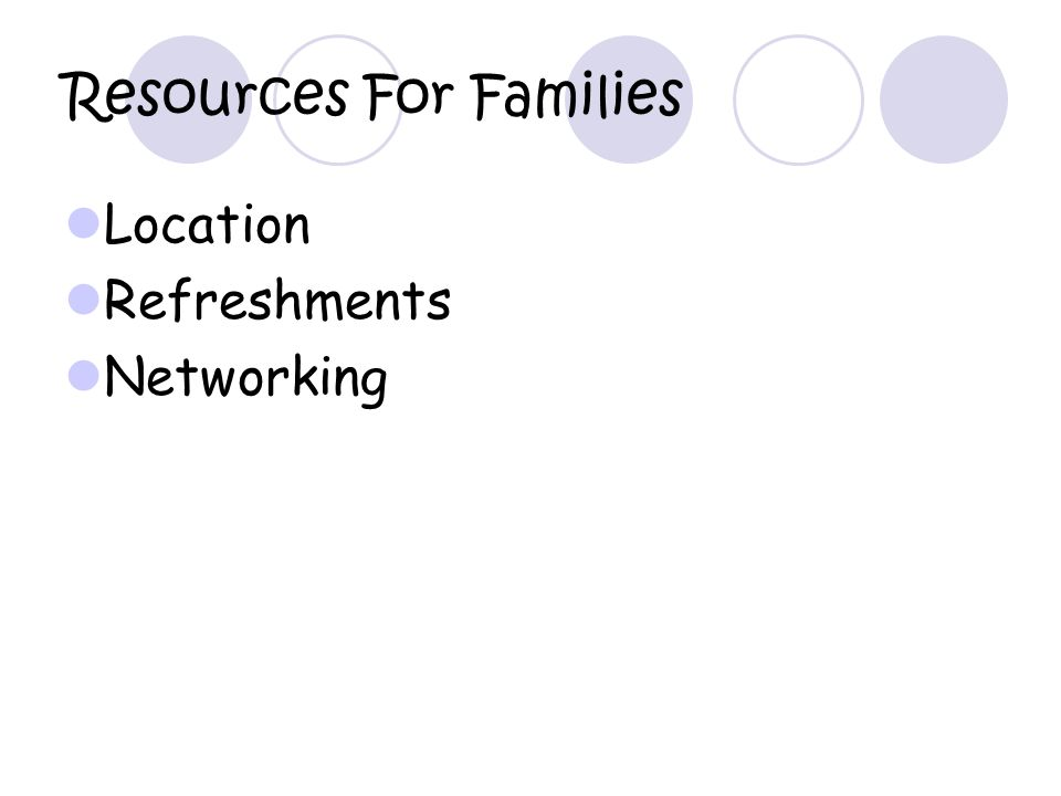 Resources For Families Location Refreshments Networking