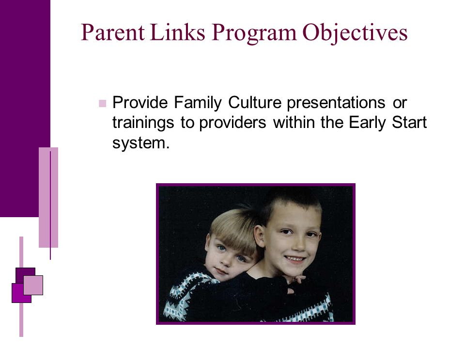 Parent Links Program Objectives Provide Family Culture presentations or trainings to providers within the Early Start system.