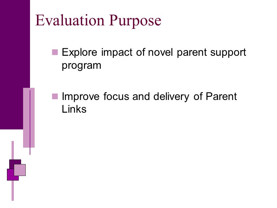 Evaluation Purpose Explore impact of novel parent support program Improve focus and delivery of Parent Links