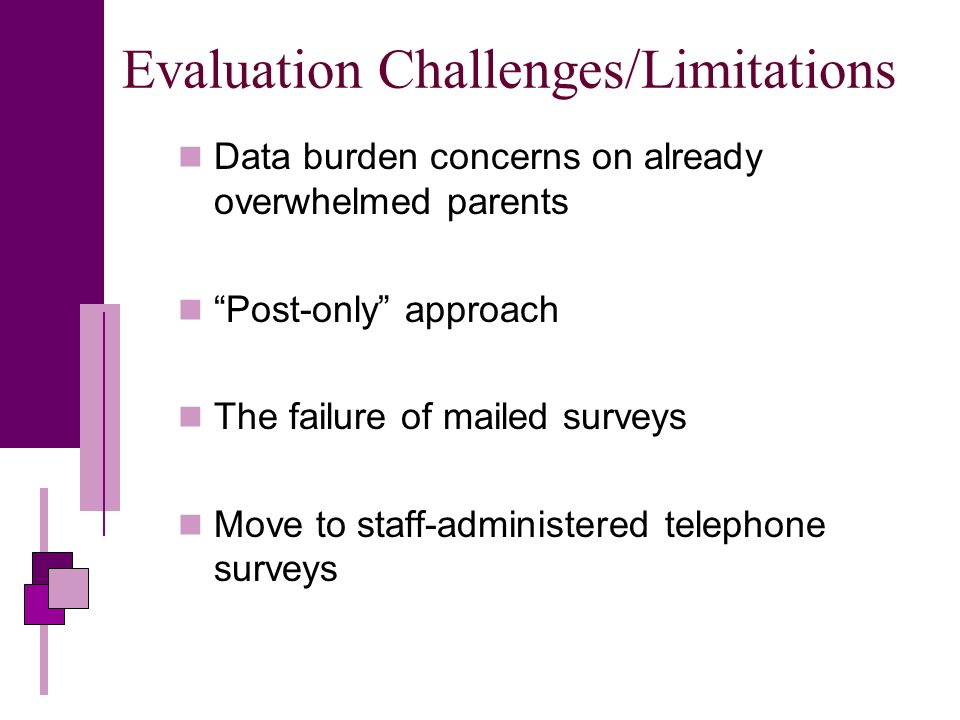 Evaluation Challenges/Limitations Data burden concerns on already overwhelmed parents Post-only approach The failure of mailed surveys Move to staff-administered telephone surveys