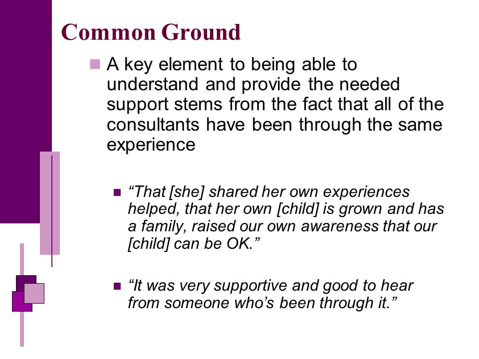Common Ground A key element to being able to understand and provide the needed support stems from the fact that all of the consultants have been through the same experience That [she] shared her own experiences helped, that her own [child] is grown and has a family, raised our own awareness that our [child] can be OK.