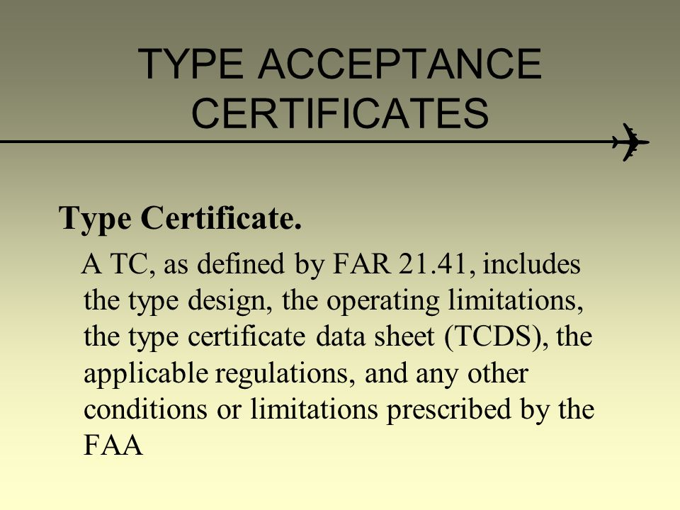 Type Acceptance Certificates For Imported Aircraft Cooperative