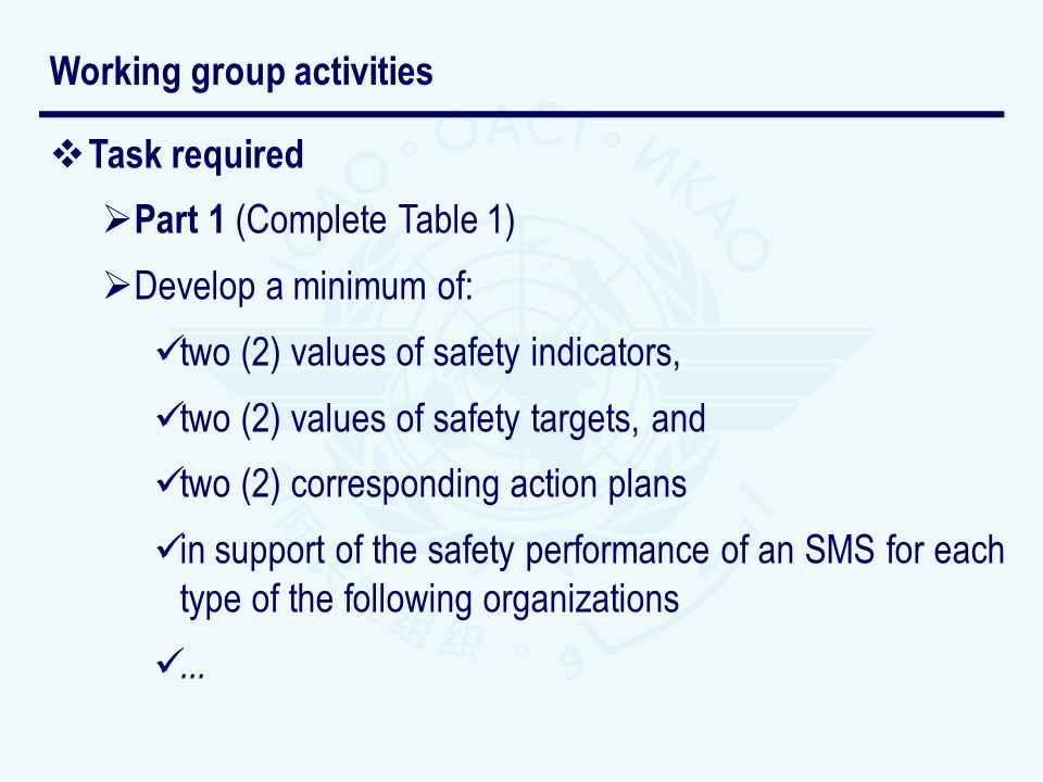 Task required Part 1 (Complete Table 1) Develop a minimum of: two (2) values of safety indicators, two (2) values of safety targets, and two (2) corresponding action plans in support of the safety performance of an SMS for each type of the following organizations...