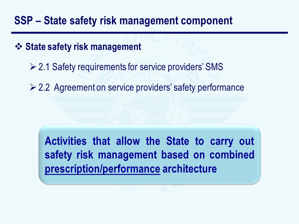 State safety risk management 2.1 Safety requirements for service providers SMS 2.2 Agreement on service providers safety performance SSP – State safety risk management component Activities that allow the State to carry out safety risk management based on combined prescription/performance architecture