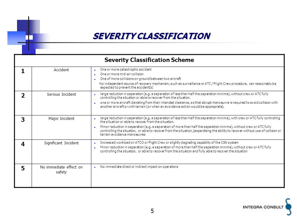 5 SEVERITY CLASSIFICATION Severity Classification Scheme 1 Accident One or more catastrophic accident One or more mid-air collision One of more collisions on ground between two aircraft No independent source of recovery mechanism, such as surveillance or ATC / Flight Crew procedure, can reasonably be expected to prevent the accident(s) 2 Serious Incident large reduction in separation (e.g.