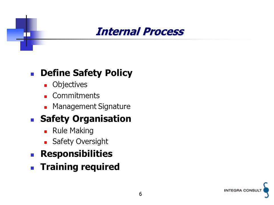 6 Internal Process Define Safety Policy Objectives Commitments Management Signature Safety Organisation Rule Making Safety Oversight Responsibilities Training required