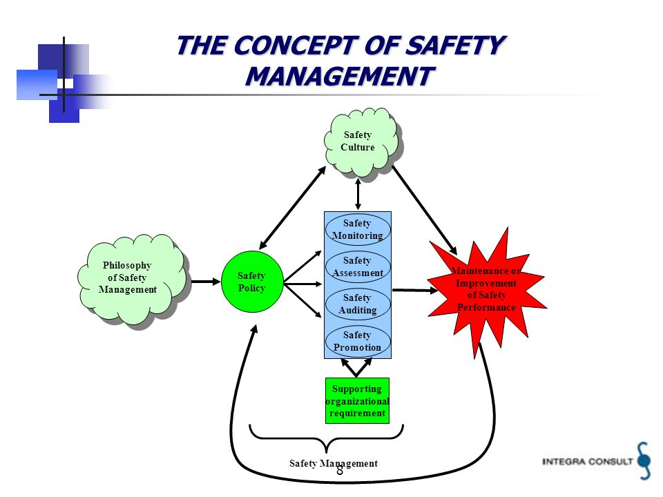 8 THE CONCEPT OF SAFETY MANAGEMENT Philosophy of Safety Management Safety Monitoring Safety Assessment Safety Auditing Safety Promotion Safety Policy Supporting organizational requirement Maintenance or Improvement of Safety Performance Safety Management Safety Culture