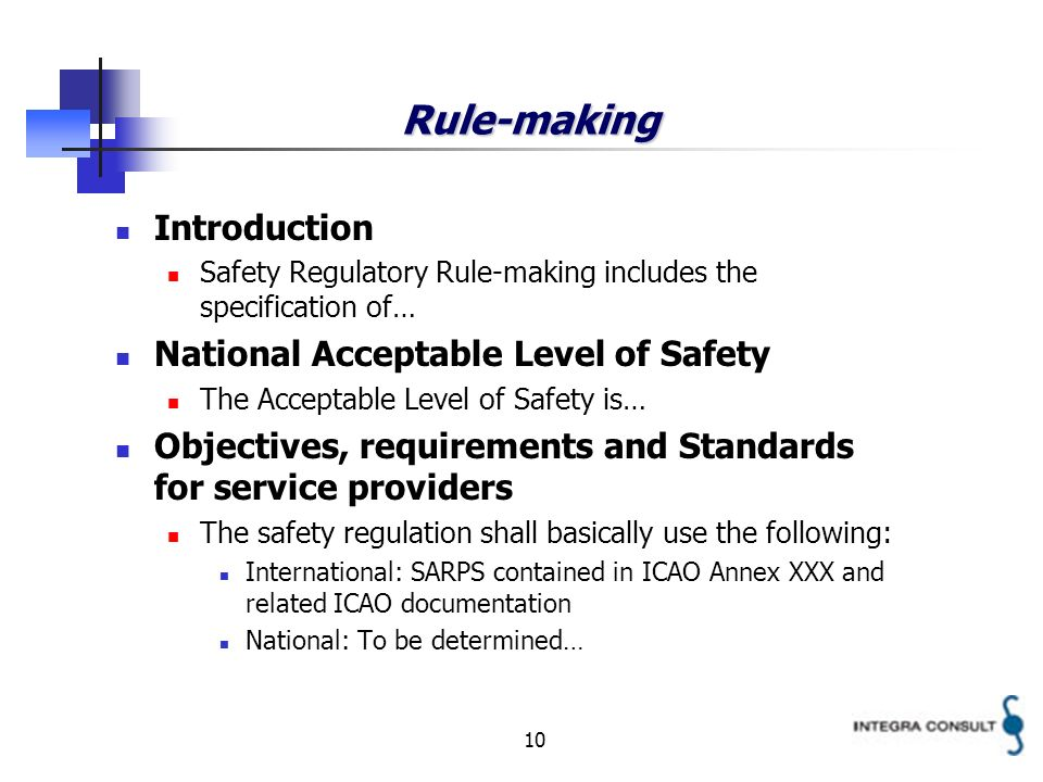 10 Rule-making Introduction Safety Regulatory Rule-making includes the specification of… National Acceptable Level of Safety The Acceptable Level of Safety is… Objectives, requirements and Standards for service providers The safety regulation shall basically use the following: International: SARPS contained in ICAO Annex XXX and related ICAO documentation National: To be determined…