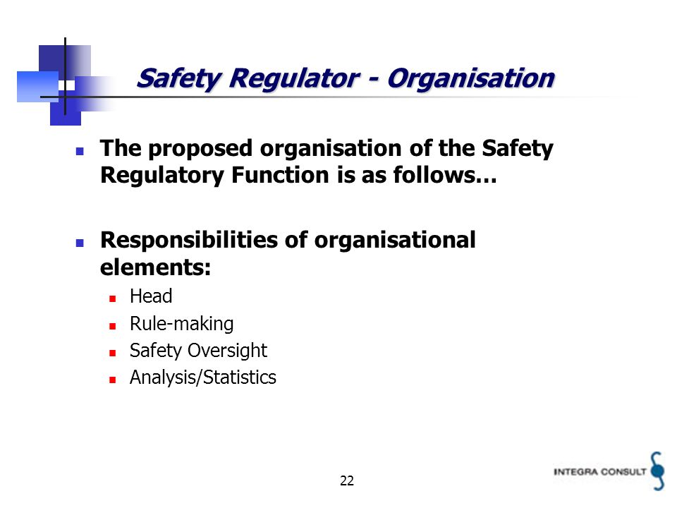 22 Safety Regulator - Organisation The proposed organisation of the Safety Regulatory Function is as follows… Responsibilities of organisational elements: Head Rule-making Safety Oversight Analysis/Statistics