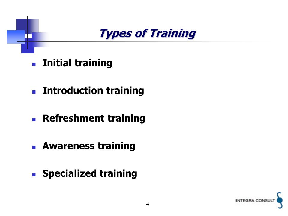 4 Types of Training Initial training Introduction training Refreshment training Awareness training Specialized training
