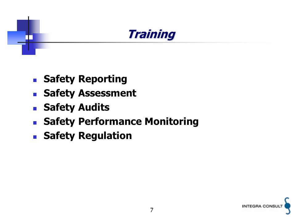 7 Training Safety Reporting Safety Assessment Safety Audits Safety Performance Monitoring Safety Regulation