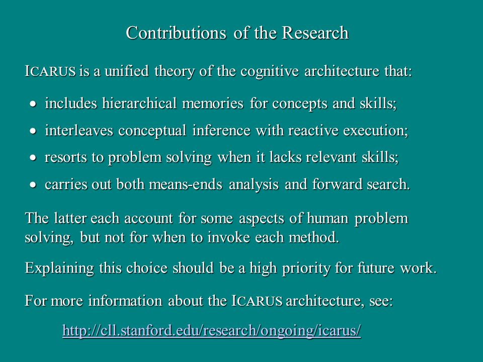 Contributions of the Research includes hierarchical memories for concepts and skills; includes hierarchical memories for concepts and skills; interleaves conceptual inference with reactive execution; interleaves conceptual inference with reactive execution; resorts to problem solving when it lacks relevant skills; resorts to problem solving when it lacks relevant skills; carries out both means-ends analysis and forward search.