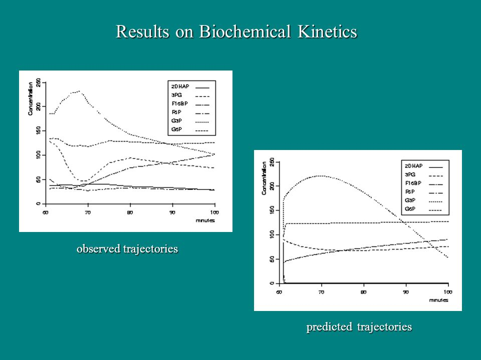 Results on Biochemical Kinetics observed trajectories predicted trajectories