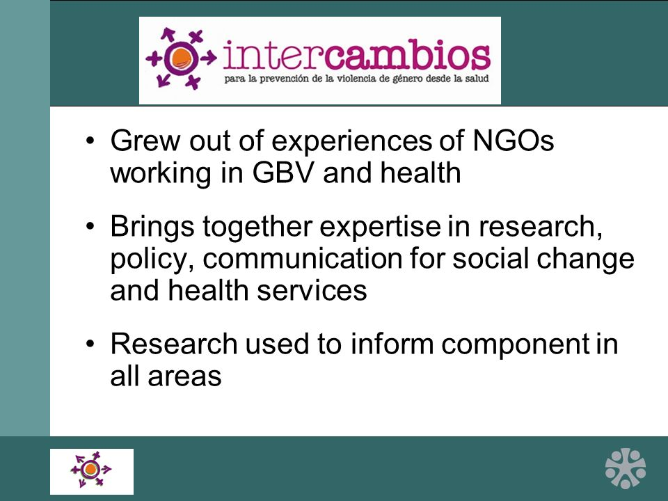 Grew out of experiences of NGOs working in GBV and health Brings together expertise in research, policy, communication for social change and health services Research used to inform component in all areas