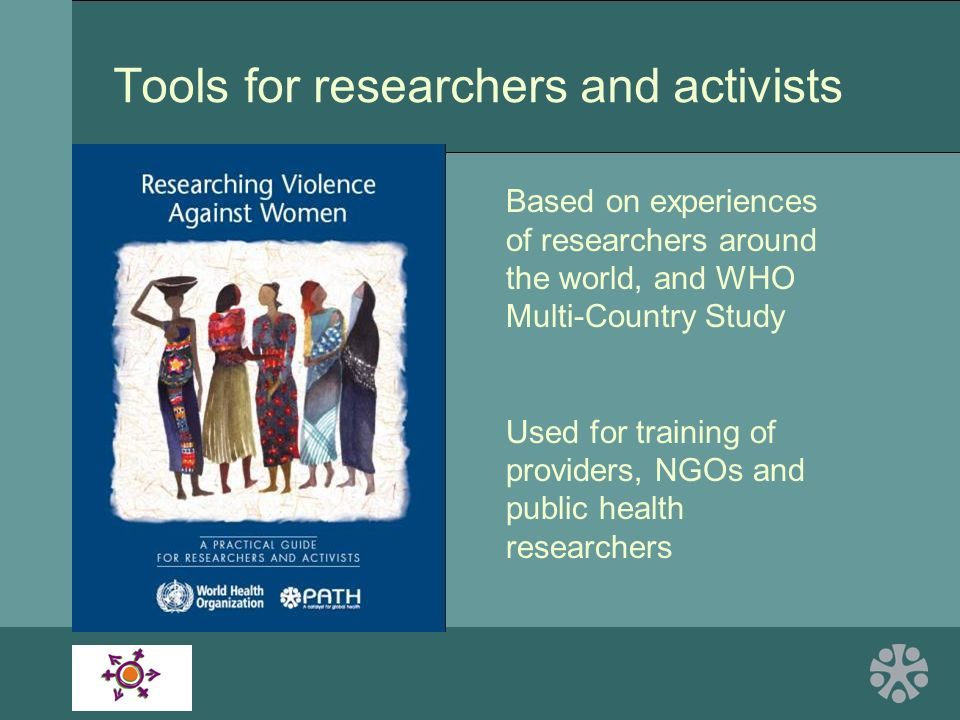 Tools for researchers and activists Based on experiences of researchers around the world, and WHO Multi-Country Study Used for training of providers, NGOs and public health researchers