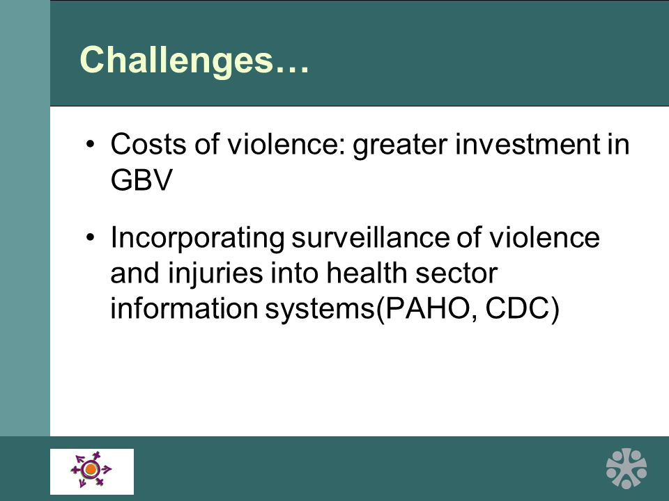 Challenges… Costs of violence: greater investment in GBV Incorporating surveillance of violence and injuries into health sector information systems(PAHO, CDC)