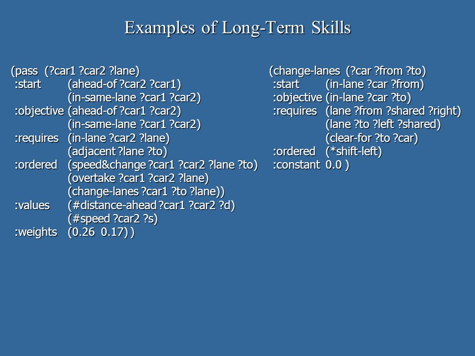 Examples of Long-Term Skills (pass ( car1 car2 lane)(change-lanes ( car from to) :start (ahead-of car2 car1) :start(in-lane car from) :start (ahead-of car2 car1) :start(in-lane car from) (in-same-lane car1 car2) :objective(in-lane car to) (in-same-lane car1 car2) :objective(in-lane car to) :objective(ahead-of car1 car2) :requires(lane from shared right) :objective(ahead-of car1 car2) :requires(lane from shared right) (in-same-lane car1 car2) (lane to left shared) (in-same-lane car1 car2) (lane to left shared) :requires(in-lane car2 lane) (clear-for to car) :requires(in-lane car2 lane) (clear-for to car) (adjacent lane to) :ordered(*shift-left) (adjacent lane to) :ordered(*shift-left) :ordered(speed&change car1 car2 lane to) :constant0.0 ) :ordered(speed&change car1 car2 lane to) :constant0.0 ) (overtake car1 car2 lane) (overtake car1 car2 lane) (change-lanes car1 to lane)) (change-lanes car1 to lane)) :values(#distance-ahead car1 car2 d) :values(#distance-ahead car1 car2 d) (#speed car2 s) :weights(0.26 0.17) ) :weights(0.26 0.17) )
