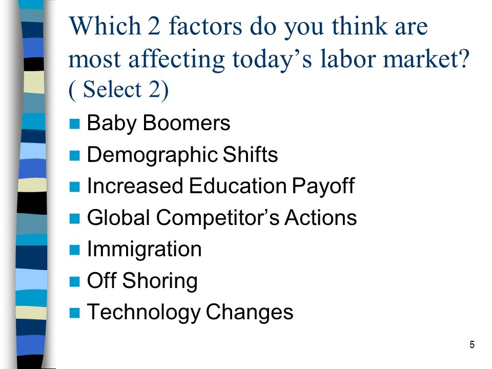 5 Which 2 factors do you think are most affecting todays labor market.