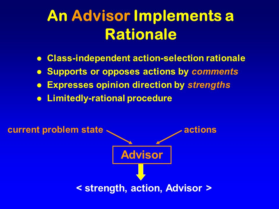 An Advisor Implements a Rationale l Class-independent action-selection rationale l Supports or opposes actions by comments l Expresses opinion direction by strengths l Limitedly-rational procedure current problem state Advisor actions