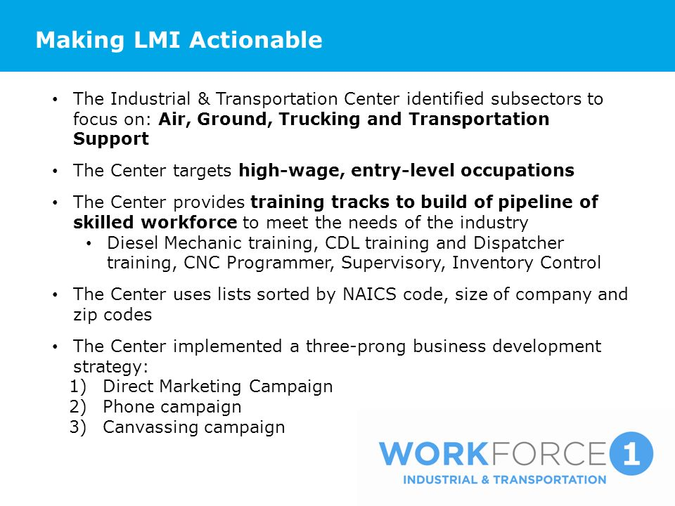 Making LMI Actionable The Industrial & Transportation Center identified subsectors to focus on: Air, Ground, Trucking and Transportation Support The Center targets high-wage, entry-level occupations The Center provides training tracks to build of pipeline of skilled workforce to meet the needs of the industry Diesel Mechanic training, CDL training and Dispatcher training, CNC Programmer, Supervisory, Inventory Control The Center uses lists sorted by NAICS code, size of company and zip codes The Center implemented a three-prong business development strategy: 1)Direct Marketing Campaign 2)Phone campaign 3)Canvassing campaign