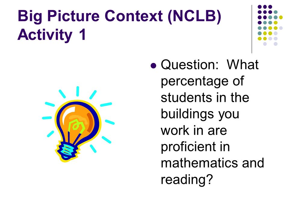 Big Picture Context (NCLB) Activity 1 Question: What percentage of students in the buildings you work in are proficient in mathematics and reading