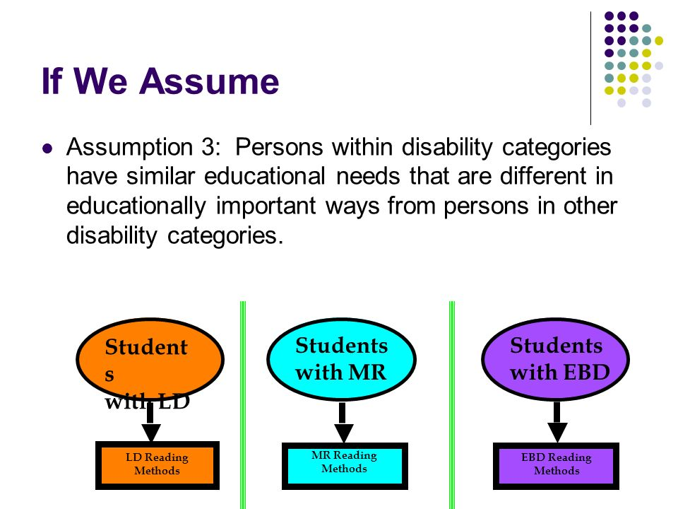 Student s with LD LD Reading Methods MR Reading Methods If We Assume Assumption 3: Persons within disability categories have similar educational needs that are different in educationally important ways from persons in other disability categories.